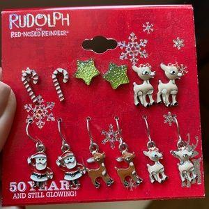 Rudolph Christmas Earring Set